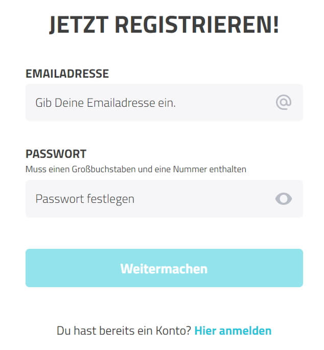 Registrierung bei LuckyDino