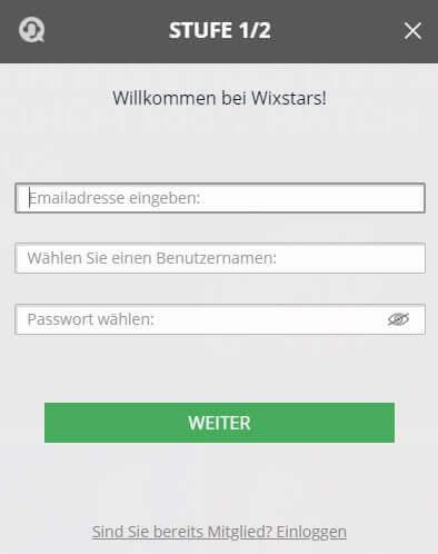 Wixstars Registrierung - Schritt für Schritt Anleitung
