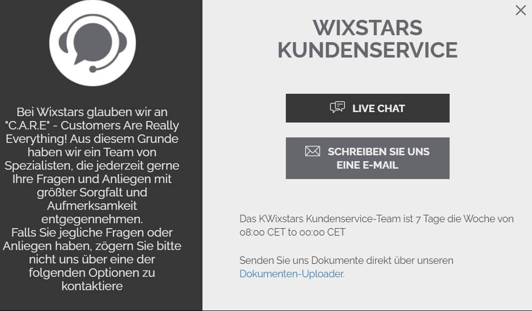 Wixstars Kundenservice