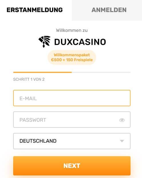 DuxCasino Anmeldung